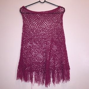 Hot pink fishnet poncho